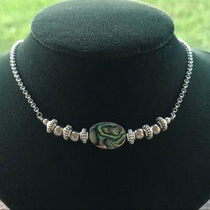 Silverskylight Jewelry - Genuine Abalone shell boho silver choker necklace